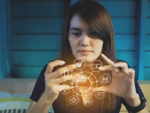 Digital online marketing network concept. hand holding smartphone